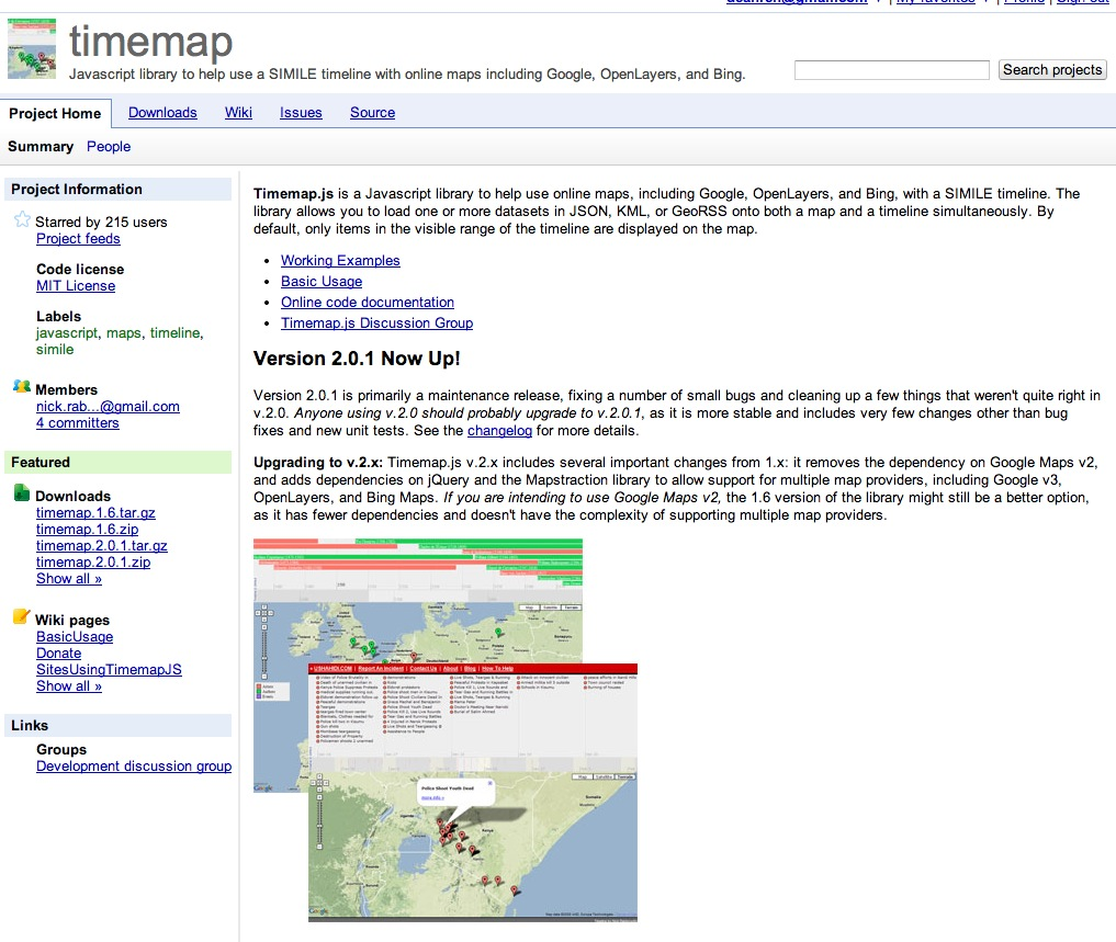 timemap – Javascript library to help use a SIMILE timeline with online maps including Google, OpenLayers, and Bing. – Google Project Hosting