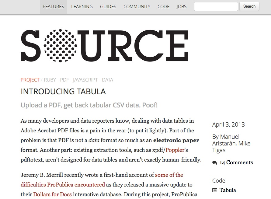 Introducing Tabula – Features – Source: An OpenNews project