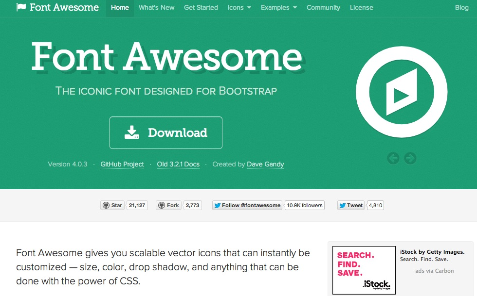 Font Awesome, the iconic font designed for Bootstrap