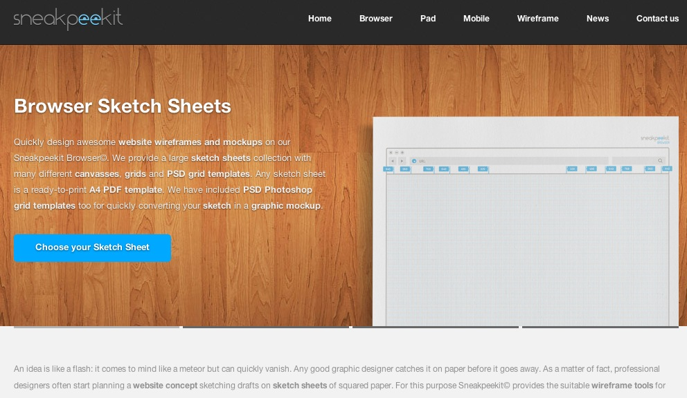 Sketch sheets for Web Designers | Sneakpeekit