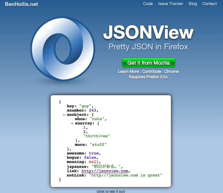 JSONView – View JSON in Firefox | BenHollis.net