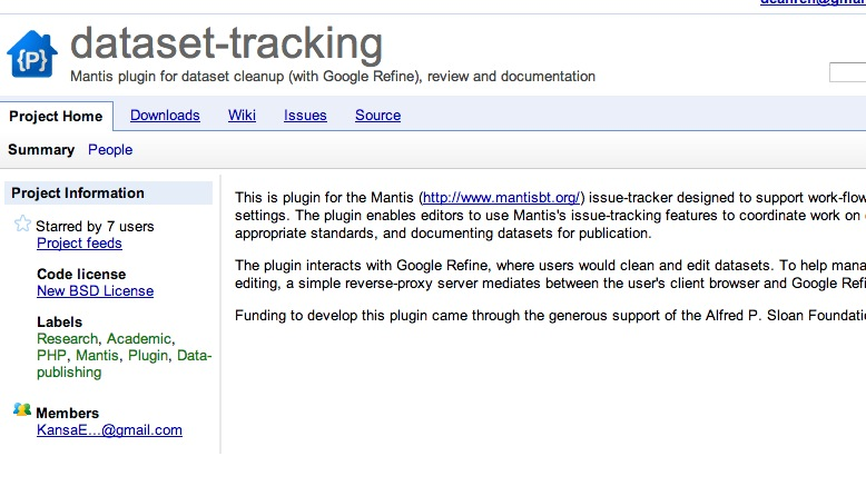 dataset-tracking – Mantis plugin for dataset cleanup (with Google Refine), review and documentation – Google Project Hosting