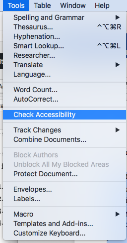 MS Word Accessibility Checker